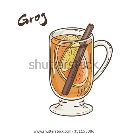 vector printable illustration of isolated cup of grog with label