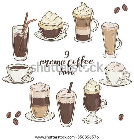 vector printable illustration with set of isolated cup of coffee drinks. Contains coffee, latte, mocha, cappuccino and others - stock vector