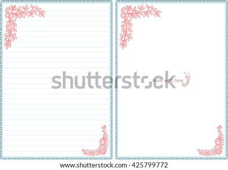 Vector Printable Letter Paper Stationery Doodle Vector – Diary Paper Printable