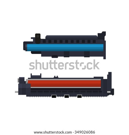 Vector printer parts - stock vector