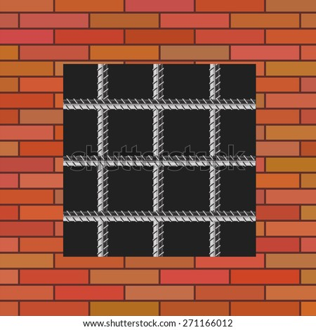 Vector Prison Window 0n Red Brick Wall. Jail Wall with Window. - stock vector
