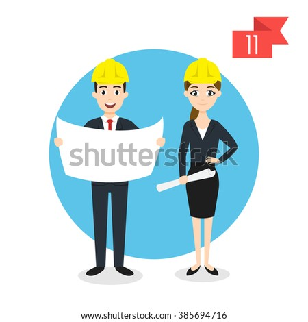 Vector profession characters: man and woman. Engineer. - stock vector