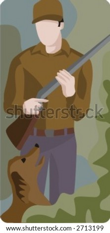 Vector profession series. Hunter. Check my portfolio for much more of this series as well as thousands of similar and other great vector items. - stock vector