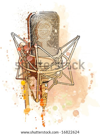 Vector professional gold microphone. Watercolor background - stock vector