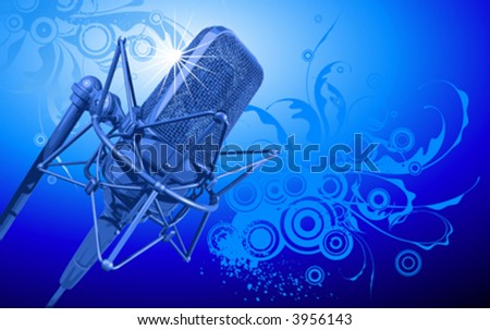 VECTOR professional microphone in beams of blue light - stock vector