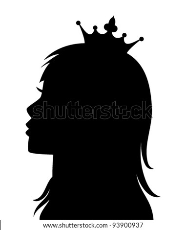 vector profile of princess or queen - stock vector