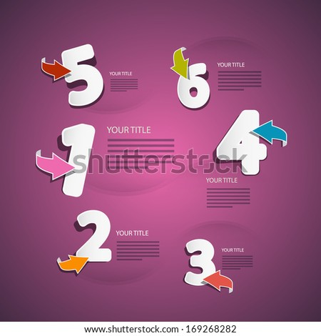 Vector Progress Steps for Tutorial, Infographics on Pink, Violet Background - stock vector