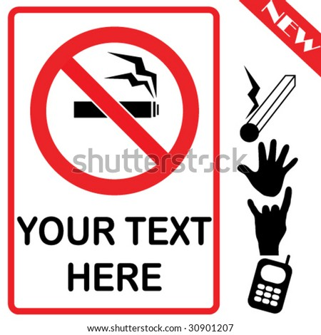 vector prohibited signs pack of 5 - stock vector