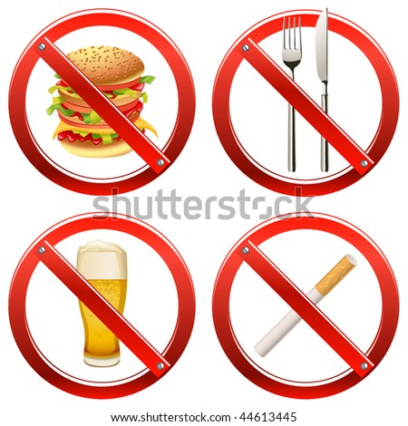 Vector Prohibition Signs - Set Two (set of signs banning smoking and food or drink in a certain area) - stock vector