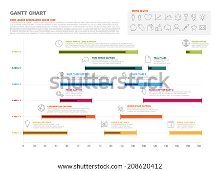 Vector Project Timeline Graph Gantt Progress Stock Vector Hd