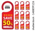 Vector : Promotional Sale Labels Set, Present By Red Save 10-80 Percent Off Tag Isolated on White Background  - stock photo