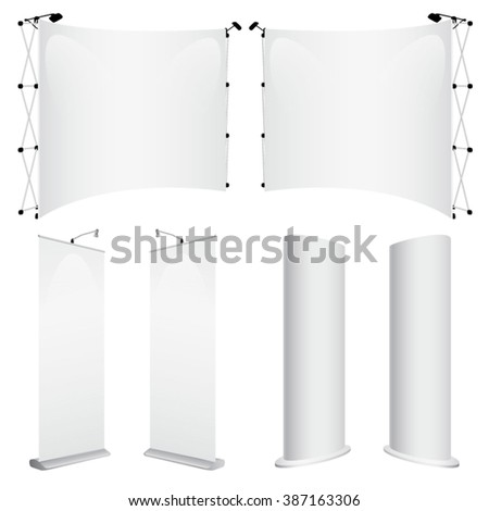 Vector promotional trade booth and roll up mockups - stock vector