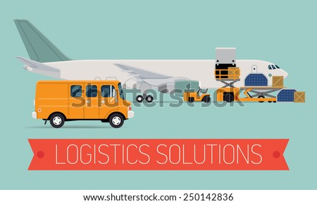 Vector promotional web banner template on logistics solutions and shipping company featuring freight cargo jet airplane loading, airport service vehicles, delivery van and ribbon with sample title - stock vector