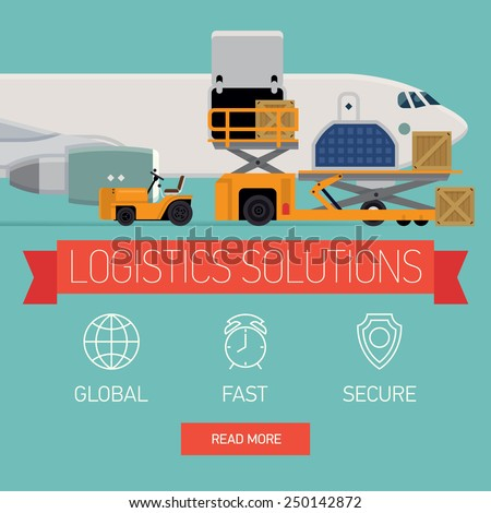 Vector promotional web banner template on logistics solutions and shipping company featuring freight cargo jet airplane loading, airport service vehicles and various containers, flat design - stock vector