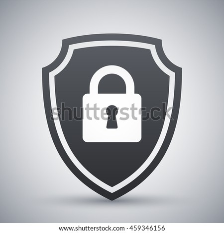 Vector Protective shield icon with the image of a padlock. Security concept simple icon on a light gray background - stock vector