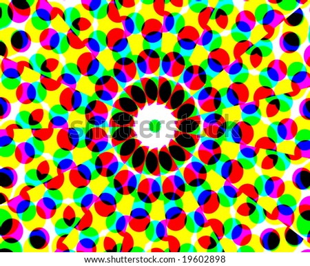 Vector Psychedelic Halftone Dots - stock vector