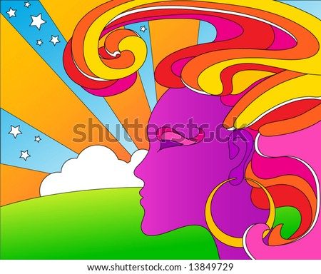 vector psychedelic pop art woman - stock vector
