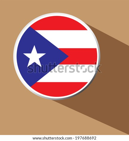 Vector - Puerto Rico button icon with long shadow  - stock vector