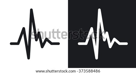 Vector pulse heart rate icon. Two-tone version on black and white background - stock vector