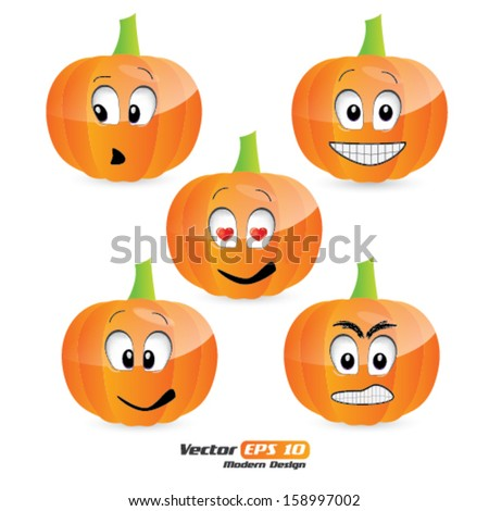 Vector pumpkin faces/emoticons - stock vector