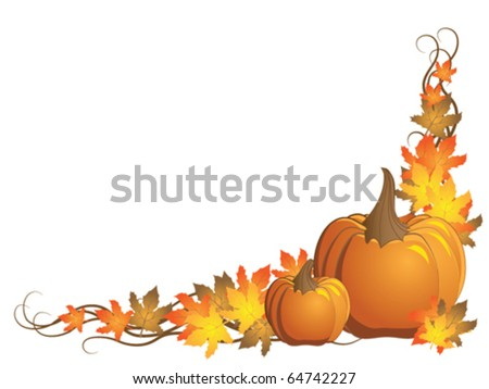 Vector pumpkin with autumn leaves