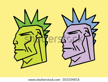 Vector punks heads with mohawks. - stock vector
