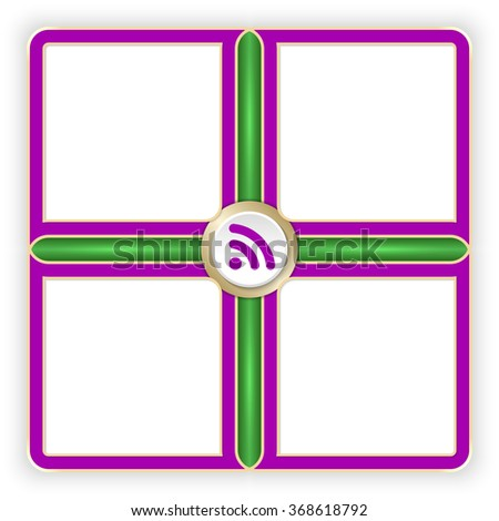 Vector purple frames for your text and feed icon - stock vector