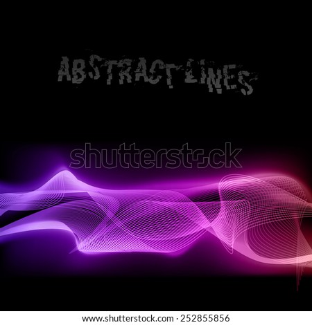 Vector purple lines on the black background. Vector elements.