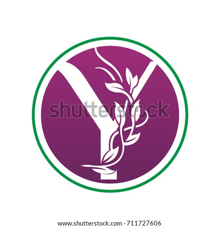 Vector pink landscape leaf letter y stock vector 711836875 vector purple nature park letter y logo sciox Image collections