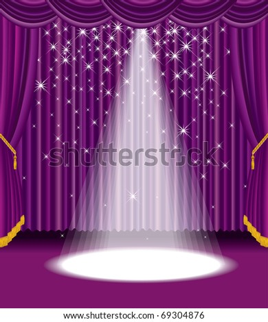 vector purple stage with falling stars, eps 10 file - stock vector