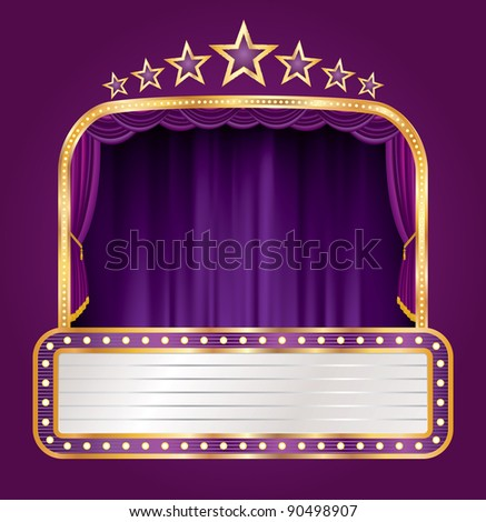 vector purple velvet stage with blank billboard and stars - stock vector