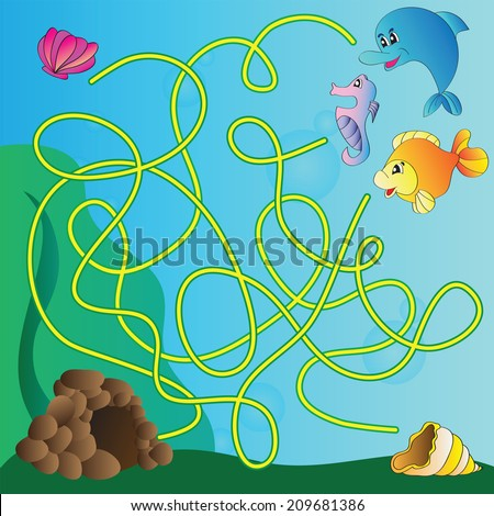 Vector puzzle for kids  - the marine life - stock vector