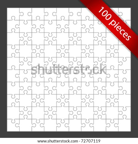 Vector 100 puzzle pieces background. Eps 10. - stock vector