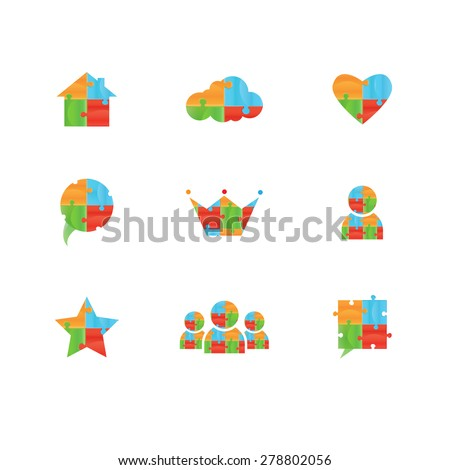 Vector puzzle. Puzzle vector logo design template. Funny Rebus entertainment concept. Colorful logic icon. Construction logo. Differences shape Puzzles - stock vector