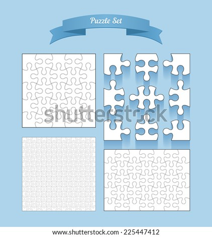 Vector puzzle set, several templates puzzle on blue background - stock vector