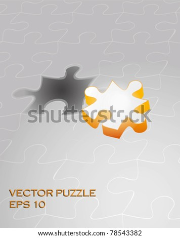 Vector puzzle with 3d pie vector - stock vector