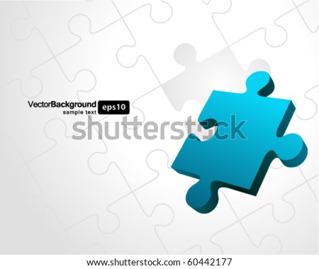 Vector puzzle with 3d pie vector background - stock vector