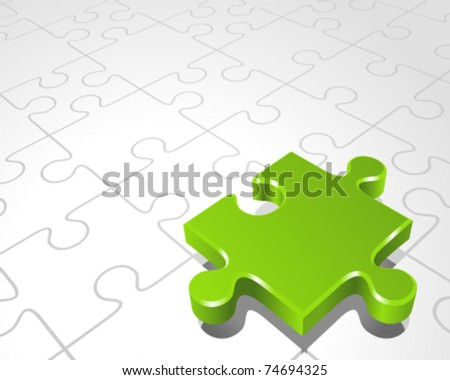 Vector puzzle with 3d pie vector background. Eps 10. - stock vector