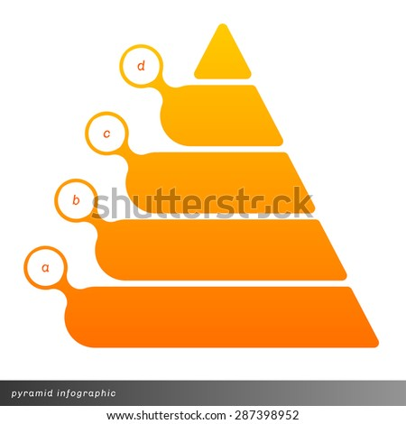 Vector pyramid infographic shows growth with gradient fill. Clear and simple template.  - stock vector