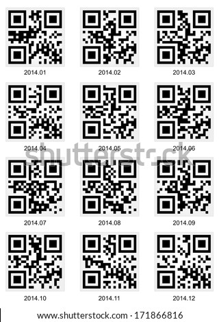 Vector QR code about 2014 year - stock vector