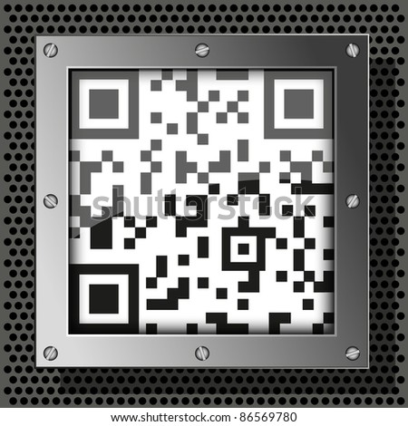 vector qr code on metal plate for your design