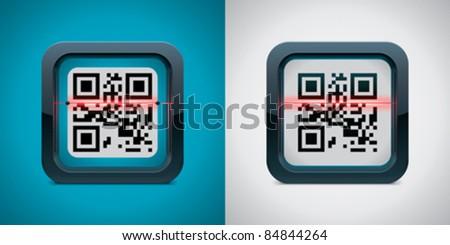 Vector QR code scanner icon - stock vector