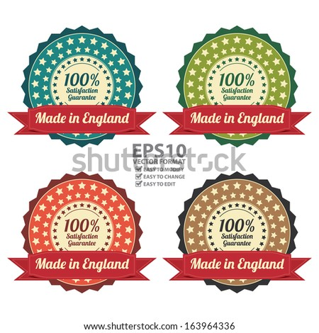 Vector : Quality Assurance and Quality Management Concept Present By Colorful Vintage Style Icon or Badge With Red Ribbon Made in England 100 Percent Satisfaction Guarantee Isolated on White - stock vector