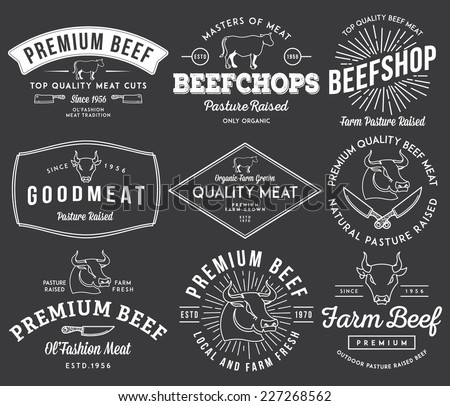 Vector quality beef badges and labels for any use - stock vector