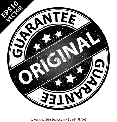 Vector : Quality Management Systems, Quality Assurance and Quality Control Concept Present By Original Label on Black Grunge Glossy Style Icon With Guarantee Text Around Isolated on White Background  - stock vector