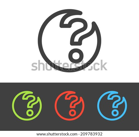 Vector question mark icon set, line and flat design - stock vector