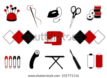 vector - Quilt, Patchwork Tools for DIY crafts, hobbies: pin cushion, needle, iron, scissors, bobbins, fabrics, sewing machine, safety pins, rotary blade cutter, ironing board, seam ripper, thread.   - stock vector
