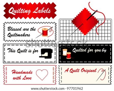 vector - Quilting Sewing Labels, copy space to add name for handmade quilts, patchwork, applique, do it yourself crafts, hobby. Needle, thread, machine, mat, quilt maker, blessed, heart, love. EPS8. - stock vector