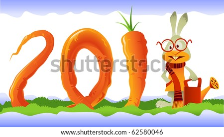 Vector rabbit, the symbol of  2011, growing a giant curly carrot in the shape of 2011 lettering - stock vector