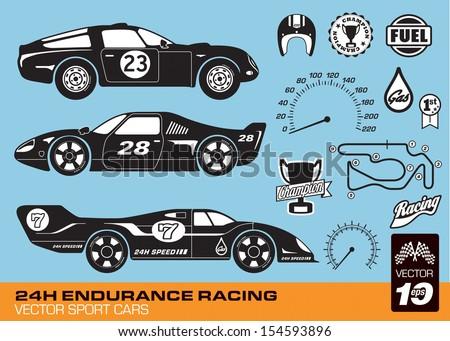 Vector race cars - stock vector